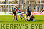 Kevin O'Gorman takes on Pa McCarthy Currow during the O'Donoghue Cup semi final in Fitzgerald Stadium on Sunday