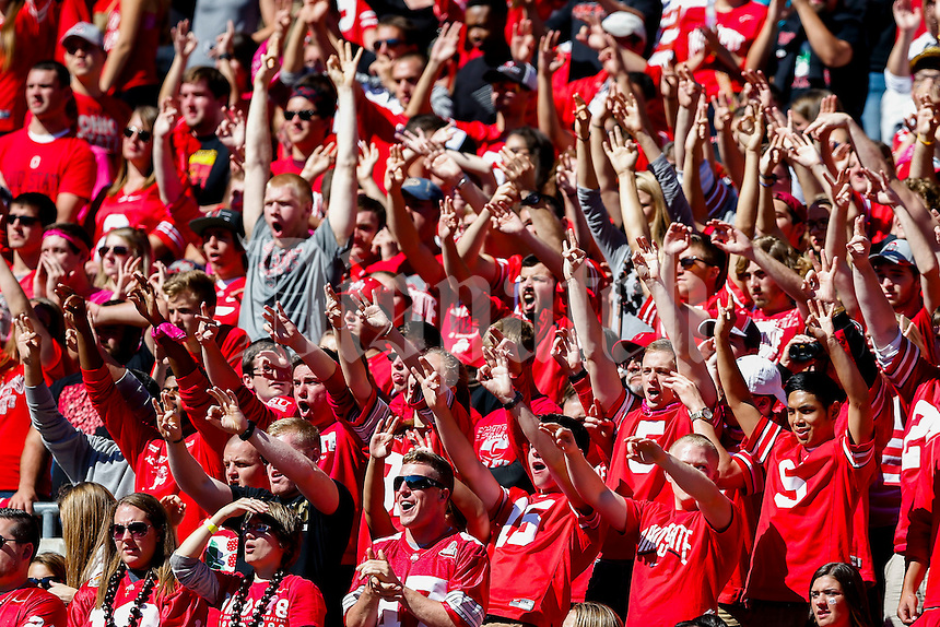 Ohio State fans cheer on a Maryland third down during a NCAA college football game between the Ohio State Buckeyes and the Maryland Terrapins on Saturday, October 10, 2015 at Ohio Stadium in Columbus, Ohio. (Joshua A. Bickel/The Columbus Dispatch)