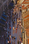 Croatia, Dubrovnik, The Stradun, Marble street worn to a reflective sheen, old town, UNESCO World Heritage Site, Dalmatian Coast, Adriatic Sea, Europe,.