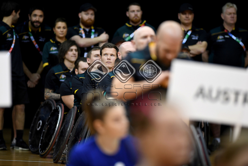 Opening Ceremony - Andrew Edmondson(Aus)<br /> Australian Wheelchair Rugby Team<br /> 2018 IWRF WheelChair Rugby <br /> World Championship / Day 1<br /> Sydney  NSW Australia<br /> Sunday 5th August 2018<br /> © Sport the library / Jeff Crow / APC