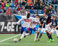 Foxborough, Massachusetts - April 9, 2016: In a Major League Soccer (MLS) match, the New England Revolution (blue/white) tied Toronto FC (white/blue), 1-1, at Gillette Stadium.