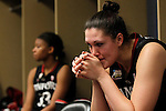 01 APRIL 2012:  Sarah Booth (42) of Stanford University contemplates her teams' loss to Baylor University during the Division I Women's Final Four semifinals at the Pepsi Center in Denver, CO.  Baylor defeated Stanford 59-47 to advance to the championship final.  Jamie Schwaberow/NCAA Photos