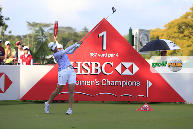 Karrie Webb (AUS) on the 1st tee during Round 4 of the HSBC Women's Champions at the Sentosa Golf Club, The Serapong Course in Singapore on Sunday 8th March 2015.<br /> Picture:  Thos Caffrey / www.golffile.ie