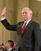 United States Senator Jeff Sessions (Republican of Alabama) is sworn-in during the US Senate Judiciary Committee confirmation hearing on his nomination to be Attorney General of the United States on Capitol Hill in Washington, DC on Tuesday, January 10, 2017.<br /> Credit: Ron Sachs / CNP