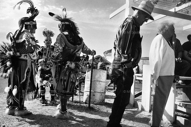 Competitors young and old wait for a dance to begin at the Rocky Boy Powwow on the Rocky Boy Reservation in Montana.