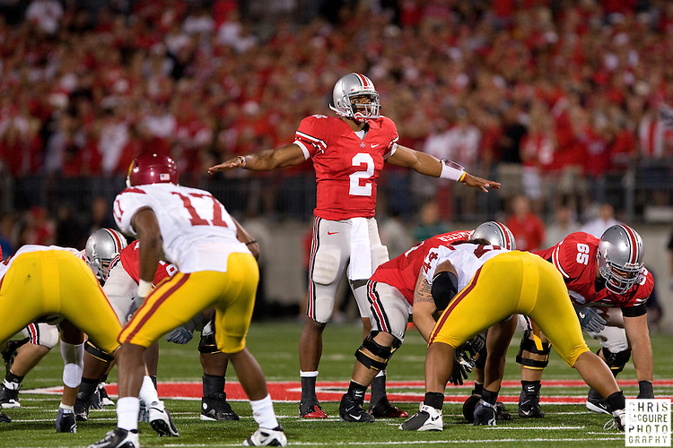12 September 2009:  Football -- Ohio State quarterback Terrelle Pryor quiets the crowd during their game against USC at Ohio Stadium in Columbus.  USC won 18-15.  Photo by Christopher McGuire.