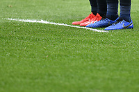 Red and Blue football shoes are seen during the Serie A 2018/2019 football match between Genoa CFC and Juventus FC at stadio Luigi Ferraris, Genova, March 17, 2019 <br /> Photo Andrea Staccioli / Insidefoto