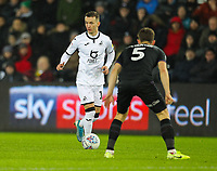 2nd January 2020; Liberty Stadium, Swansea, Glamorgan, Wales; English Football League Championship, Swansea City versus Charlton Athletic; Bersant Celina of Swansea City takes on Lockyer of Charlton - Strictly Editorial Use Only. No use with unauthorized audio, video, data, fixture lists, club/league logos or 'live' services. Online in-match use limited to 120 images, no video emulation. No use in betting, games or single club/league/player publications