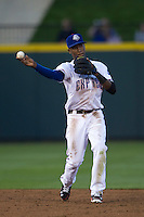 Round Rock Express shortstop Jurickson Profar #10 makes a throw to second base against the Omaha Storm Chasers in the Pacific Coast League baseball game on April 4, 2013 at the Dell Diamond in Round Rock, Texas. Round Rock defeated Omaha in their season opener 3-1. (Andrew Woolley/Four Seam Images).