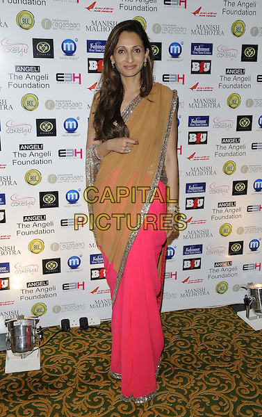 Rohini Gehani.attended the Manish Malhotra Fashion Extravaganza, Grosvenor House Hotel, Park Lane, London, England..February 23rd, 2013.full length dress pink yellow sheer sari silver .CAP/CAN.©Can Nguyen/Capital Pictures.