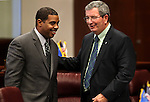 Nevada Senate Majority Leader Steven Horsford, D-North Las Vegas, left, and Senate Minority Leader Mike McGinness, R-Fallon, talk on the Senate floor at the Legislature in Carson City, Nev., on Thursday, March 17, 2011..Photo by Cathleen Allison