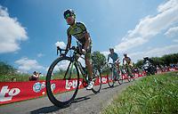 breakaway group: Sebastien Delfosse (BEL/Wallonie-Bruxelles), Serge Dewortelaer (BEL/Veranclassic-Doltcini) &amp; Evan Huffman (USA/Astana)<br /> <br /> 2014 Belgium Tour<br /> stage 4: Lacs de l'Eau d'Heure - Lacs de l'Eau d'Heure (178km)