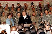 Bagram Air Force Base, Afghanistan - March 1, 2006 -- United States President George W. Bush, first lady Laura Bush, and Lieutenant General Karl Eikenberry, Combined Forces Command - Afghanistan commander, pay a surprise visit to troops at Bagram Air Force Base, Afghanistan on March 1, 2006. <br /> Credit: Brian Schroeder - U.S. Army via CNP