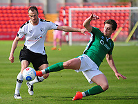 Lincoln City's Alex Woodyard vies for possession with Gateshead's Wes York<br /> <br /> Photographer Andrew Vaughan/CameraSport<br /> <br /> Vanarama National League - Gateshead v Lincoln City - Monday 17th April 2017 - Gateshead International Stadium - Gateshead <br /> <br /> World Copyright &copy; 2017 CameraSport. All rights reserved. 43 Linden Ave. Countesthorpe. Leicester. England. LE8 5PG - Tel: +44 (0) 116 277 4147 - admin@camerasport.com - www.camerasport.com
