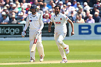 Mohammad Amir of Essex celebrates taking the wicket of Tim Bresnan during Yorkshire CCC vs Essex CCC, Specsavers County Championship Division 1 Cricket at Scarborough CC, North Marine Road on 7th August 2017