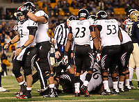 PITTSBURGH, PA - NOVEMBER 05:  Zach Collaros #12 of the Cincinnati Bearcats celebrates after scoring a touchdown in the second half against the Pittsburgh Panthers on November 5, 2011 at Heinz Field in Pittsburgh, Pennsylvania.  (Photo by Jared Wickerham/Getty Images)