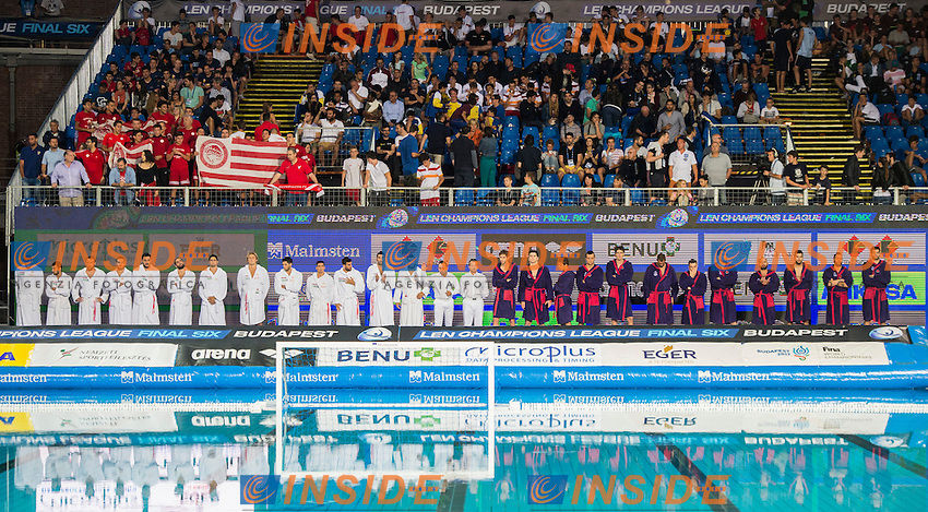 Jug Dubrovnik (white cap) vs Olympiacos (blue cap)<br /> Budapest, Alfred Hajos National Swimming Complex<br /> LEN 2016 Water Polo Champions League Final Six<br /> Budapest HUN June 2 - 5, 2016<br /> Day 03 June 4, 2016<br /> Photo Giorgio Scala/Deepbluemedia/Insidefoto