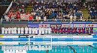 Jug Dubrovnik (white cap) vs Olympiacos (blue cap)<br /> Budapest, Alfred Hajos National Swimming Complex<br /> LEN 2016 Water Polo Champions League Final Six<br /> Budapest HUN June 2 - 5, 2016<br /> Day 03 June 4, 2016<br /> Photo Giorgio Scala/Deepbluemedia/Insidefoto