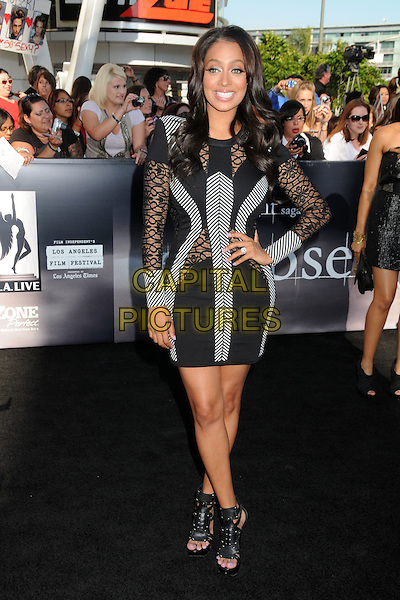 """LALA VASQUEZ .""""The Twilight Saga: Eclipse"""" Los Angeles Premiere at the 2010 Los Angeles Film Festival held at Nokia Theatre LA Live, Los Angeles, California, USA, 24th June 2010..full length hand on hip black grey gray dress long sleeve cut out mesh striped body con sheer see thru.CAP/ADM/BP.©Byron Purvis/AdMedia/Capital Pictures."""