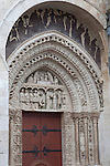 Detail on one of the entrances to Rouen Cathedral in Normandy, France