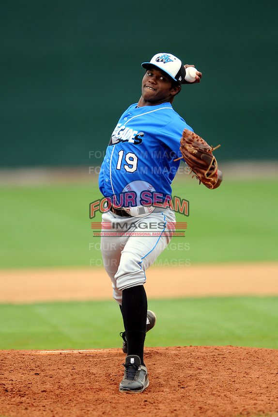 Hudson Valley Renegades pitcher Eli Echarry #19 during a game versus the Lowell Spinners at LeLacheur Park in Lowell, Massachusetts on August 18, 2013.  (Ken Babbitt/Four Seam Images)