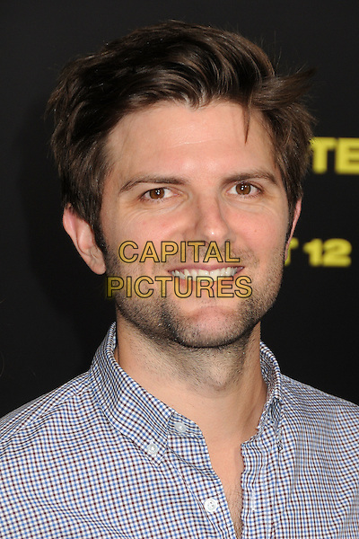 """Adam Scott.""""30 Minutes or Less"""" World Premiere held at Grauman's Chinese Theatre, Hollywood, California, USA..August 8th, 2011.headshot portrait blue check stubble facial hair.CAP/ADM/BP.©Byron Purvis/AdMedia/Capital Pictures."""