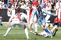 Rayo Vallecano's Anaitz Arbilla (l), Roberto Trashorras (2l) and Alejandro Galvez (r) and Real Sociedad's Antoine Griezman during La Liga match.April 14,2013. (ALTERPHOTOS/Acero)