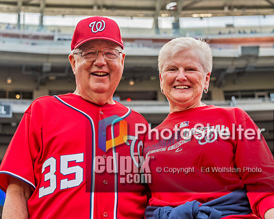 21 May 2018: Washington Nationals fans Gerry and Suzie Gleckel pose for a photo prior to a game against the San Diego Padres at Nationals Park in Washington, DC. The Nationals defeated the Padres 10-2, taking the first game of their 3-game series. Mandatory Credit: Ed Wolfstein Photo *** RAW (NEF) Image File Available ***