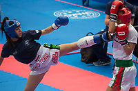 Gold medalist Gabriella Busa (R) of Hungary and silver medalist Kristina Nikolova (L) of Bulgaria fight in the 3KL 039S F -50 kg final at the WAKO (World Association of Kickboxing Organizations) World Kick-boxing Championships in Budapest, Hungary on Nov. 10, 2017. ATTILA VOLGYI