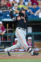 Oregon State outfielder Michael Conforto (8) follows through on his swing against the Indiana Hoosiers during Game 9 of the 2013 Men's College World Series  on June 19, 2013 at TD Ameritrade Park in Omaha, Nebraska. The Beavers defeated the Hoosiers 1-0, eliminating Indiana from the tournament. (Andrew Woolley/Four Seam Images)