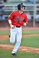 Elizabethton Twins shortstop Jordan Gore (38) runs to first base during a game against the Pulaski Yankees at Joe O'Brien Field on June 27, 2016 in Elizabethton, Tennessee. The Yankees defeated the Twins 6-4. (Tony Farlow/Four Seam Images)