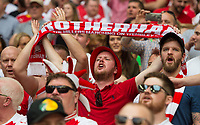 Rotherham fans during the Sky Bet League 1 Play Off FINAL match between Rotherham United and Shrewsbury Town at Wembley, London, England on 27 May 2018. Photo by Andrew Aleksiejczuk / PRiME Media Images.