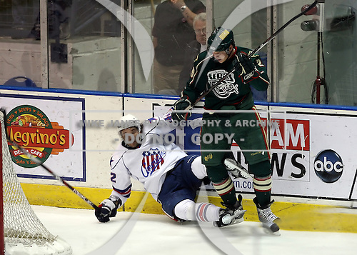 February 24th 2008:  Morten Madsen (29) of the Houston Aeros checks Andrej Sekera (42) to the ice during a game vs. the Rochester Amerks at Blue Cross Arena at the War Memorial in Rochester, NY.  The Aeros defeated the Amerks 4-0.   Photo copyright Mike Janes Photography 2008