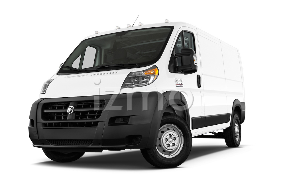 Stock pictures of low aggressive front three quarter view of2014 Ram Promaster 1500 136 WB Low Roof 3 Door Cargo Van Low Aggressive