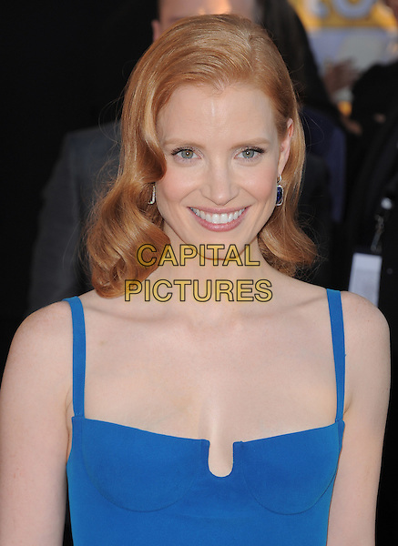 Jessica Chastain.18th Annual Screen Actors Guild Awards held at The Shrine Auditorium, Los Angeles, California, USA..January 29th, 2012.SAG SAGS headshot portrait blue.CAP/RKE/DVS.©DVS/RockinExposures/Capital Pictures.