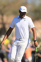 2nd February 2020, TPC Scottsdale, Arizona, USA;  Tony Finau watches his putt on the second hole during the final round of the Waste Management Phoenix Open
