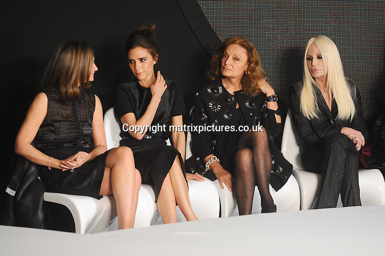 NON EXCLUSIVE PICTURE: PAUL TREADWAY / MATRIXPICTURES.CO.UK.PLEASE CREDIT ALL USES..WORLD RIGHTS..Net-A-Porter founder Natalie Massenet, English designer Victoria Beckham, Diane Von Furstenberg and Donatella Versace are pictured judging the International Woolmark Prize Grand Final at the ME Hotel during London Fashion Week...FEBRUARY 16th 2013..REF: PTY 131086