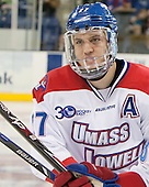 Zack Kamrass (UML - 27) - The University of Massachusetts Lowell River Hawks defeated the visiting American International College Yellow Jackets 6-1 on Tuesday, December 3, 2013, at Tsongas Arena in Lowell, Massachusetts.