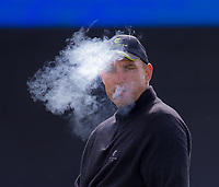 footballer turned actor Vinnie Jones on the final hole during the GOLFSIXES ProAm  at Centurion Club, St Albans, England on 5 May 2017. Photo by Andy Rowland.