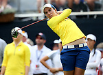 DES MOINES, IA - AUGUST 19: Europe's Carlota Ciganda watches her tee shot on the 1st hole of their afternoon four-ball match Saturday at the 2017 Solheim Cup in Des Moines, IA. (Photo by Dave Eggen/Inertia)