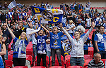Bristol Rovers fans before the 2015 Vanarama Conference Promotion Final match between Grimsby Town and Bristol Rovers at Wembley Stadium, London<br /> Picture by David Horn/eXtreme aperture photography +44 7545 970036<br /> 17/05/2015
