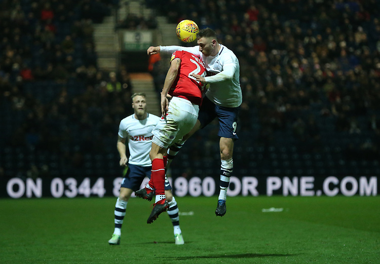 Preston North End's Louis Moult clashes with Middlesbrough's Lewis Wing<br /> <br /> Photographer Stephen White/CameraSport<br /> <br /> The EFL Sky Bet Championship - Preston North End v Middlesbrough - Tuesday 27th November 2018 - Deepdale Stadium - Preston<br /> <br /> World Copyright © 2018 CameraSport. All rights reserved. 43 Linden Ave. Countesthorpe. Leicester. England. LE8 5PG - Tel: +44 (0) 116 277 4147 - admin@camerasport.com - www.camerasport.com