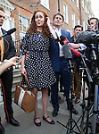 Pic shows: Rebekah Brooks and Charlie Brooks on steps of their home tonight after making statement<br /> wide view <br /> <br /> <br /> Pic by Gavin Rodgers/Pixel 8000 Ltd