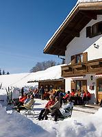 Deutschland, Bayern, Chiemgau, Reit im Winkl: Skihuette - Jausenstation fuer Skilanglaeufer | Germany, Bavaria, Chiemgau, Reit im Winkl: ski hut - resting place for cross-country skier
