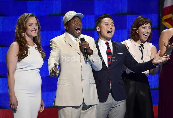 Ben Vereen, second left, sings &quot;What the World Needs Now is Love&quot; with other stars of Broadway during the third session of the 2016 Democratic National Convention at the Wells Fargo Center in Philadelphia, Pennsylvania on Wednesday, July 27, 2016.<br /> Credit: Ron Sachs / CNP/MediaPunch<br /> (RESTRICTION: NO New York or New Jersey Newspapers or newspapers within a 75 mile radius of New York City)
