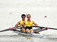 Poznan, POLAND.  2006, FISA, Rowing, World Cup, AUS M2X, bow James GATTI and Dan NOONAN, move  away from  the  start, on the Malta  Lake. Regatta Course, Poznan, Thurs. 15.05.2006. © Peter Spurrier   .[Mandatory Credit Peter Spurrier/ Intersport Images] Rowing Course:Malta Rowing Course, Poznan, POLAND