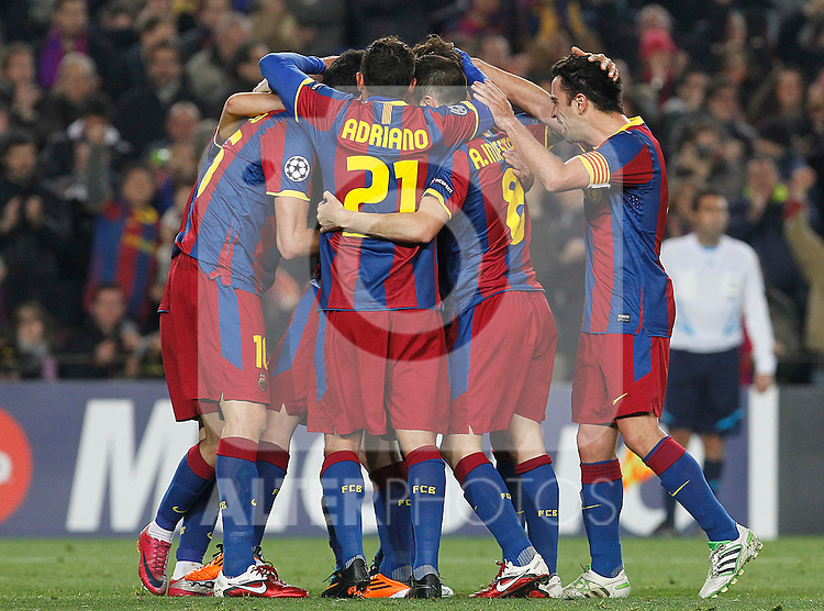 FC Barcelona's players celebrate goal during UEFA Champions League match.March 8,2011. (ALTERPHOTOS/Acero)