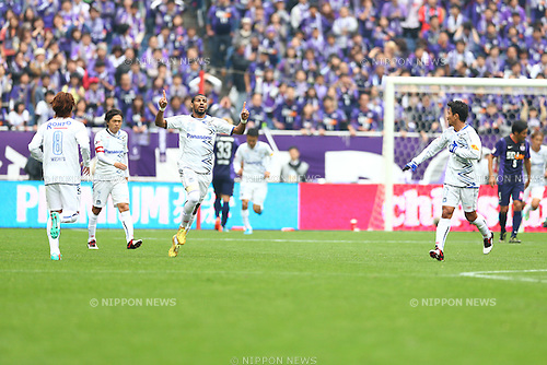 Patric (Gamba),<br /> NOVEMBER 8, 2014 - Football / Soccer :<br /> Patric of Gamba Osaka celebrates after scoring his team's first goal during the 2014 J.League Yamazaki Nabisco Cup Final match between Sanfrecce Hiroshima 2-3 Gamba Osaka at Saitama Stadium 2002 in Saitama, Japan. (Photo by Kenzaburo Matsuoka/AFLO)