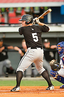 Steven Nikorak #5 of the Bristol White Sox at bat against the Burlington Royals at Burlington Athletic Park on July 6, 2012 in Burlington, North Carolina.  The Royals defeated the White Sox 5-2.  (Brian Westerholt/Four Seam Images)