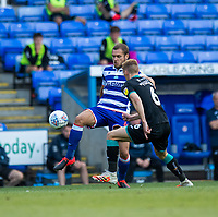 Swansea City's Jay Fulton (right) battles with Reading's George Puscas (left) <br /> <br /> Photographer David Horton/CameraSport<br /> <br /> The EFL Sky Bet Championship - Reading v Swansea City - Wednesday July 22nd 2020 - Madejski Stadium - Reading <br /> <br /> World Copyright © 2020 CameraSport. All rights reserved. 43 Linden Ave. Countesthorpe. Leicester. England. LE8 5PG - Tel: +44 (0) 116 277 4147 - admin@camerasport.com - www.camerasport.com